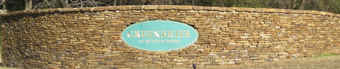 Greenbrier at Rusdun Farms entrance sign