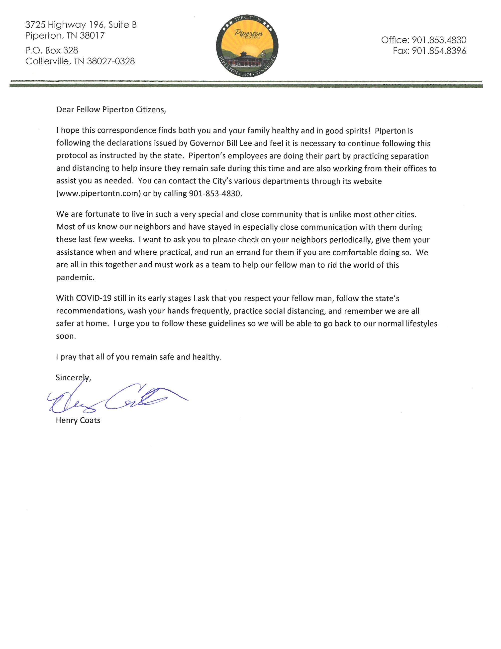 Message from the Mayor 4-1-20